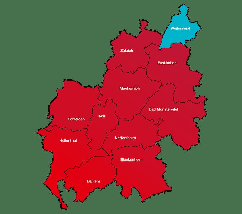 Das Bild zeigt eine Karte des Kreis Euskirchen in der Weilerswist farblich hervorgehoben ist.